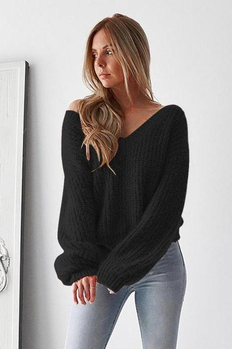 Women Knitted Sweater Autumn Winter Deep V Neck Long Sleeve Backless Loose Thicken Pullover Tops black