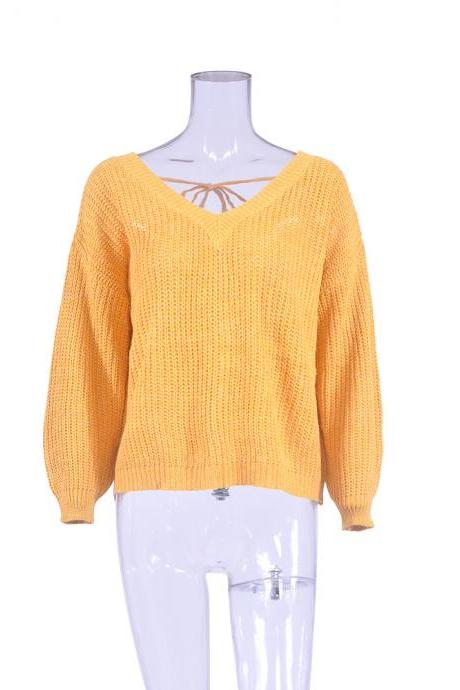 Women Knitted Sweater Autumn Winter Deep V Neck Long Sleeve Backless Loose Thicken Pullover Tops yellow