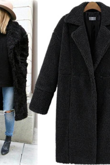 Women Faux Fur Teddy Coat Turn-down Collar Long Sleeve Winter Thick Warm Fluffy Jacket Overcoat Outwear black