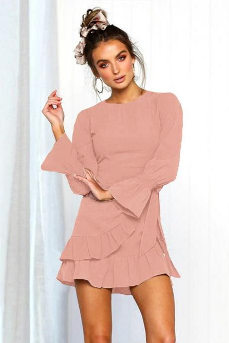 Women Casual Dress Autumn O Neck Bow Wrap Ruffles Slim Long Lantern Sleeve Mini Club Party Dress old pink