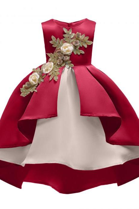 High Low Flowers Girl Dress Applique Sleeveless Formal Birthday Party Gown Children Kids Clothes wine red