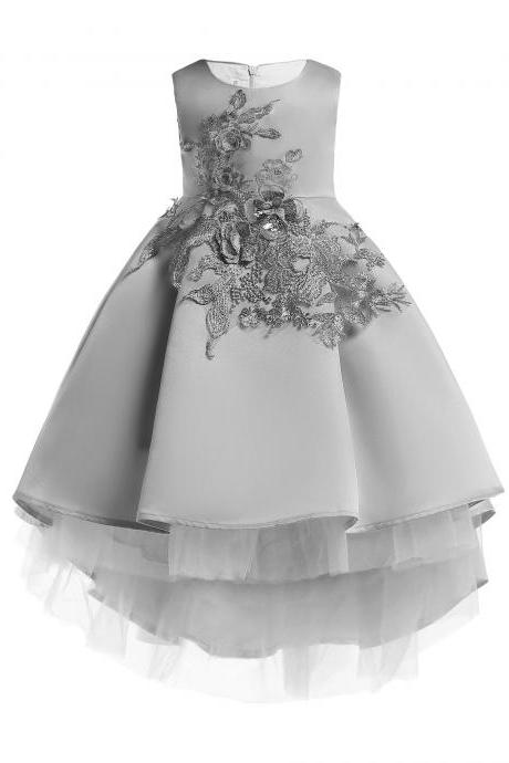High Low Flower Girl Dress Sleeveless Princess Tuxedos Formal Perform Party Gowns Children Clothes gray