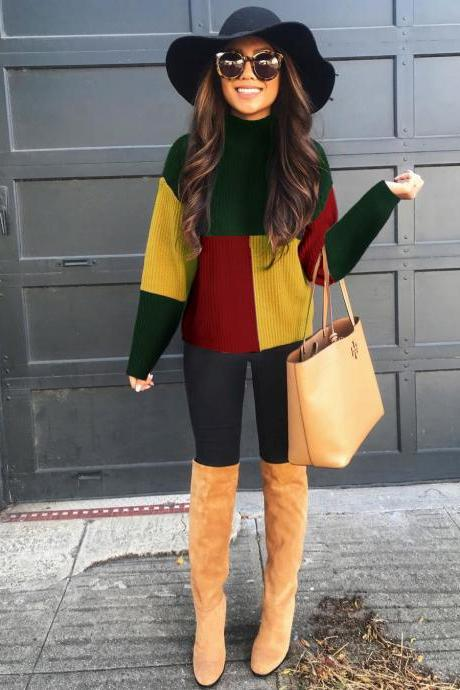 Women Knitted Sweater Autumn Winter Turtleneck Long Sleeve Patchwork Casual Slim Pullover Tops green