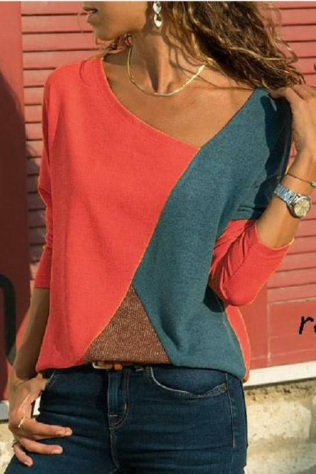 Women Long Sleeve T-Shirt Autumn Winter Patchwork Color Plus Size Slim Pullover Tops red