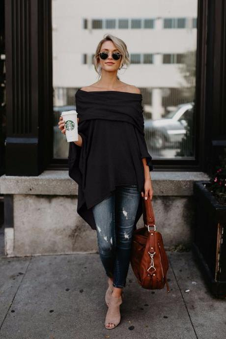 Women Off the Shoulder Top Autumn Asymmetric Solid Casual Loose Party Off Cloak Poncho Pullover black