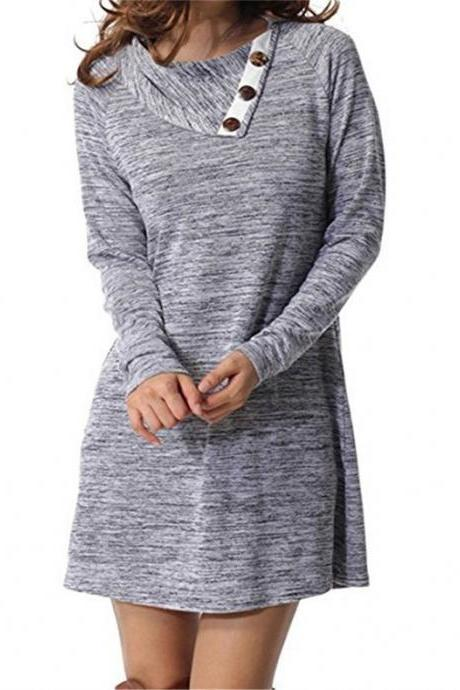 Women Mini Dress Autumn Winter Asymmetrical Neck Long Sleeve Causal Loose Button T Shirt Dress gray
