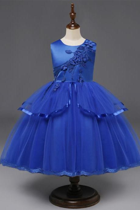 Princess Flower Girl Dress Sleeveless Wedding Formal Birthday Party Tutu Gown Children Clothes blue