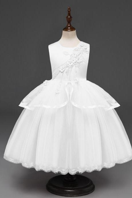 Princess Flower Girl Dress Sleeveless Wedding Formal Birthday Party Tutu Gown Children Clothes off white