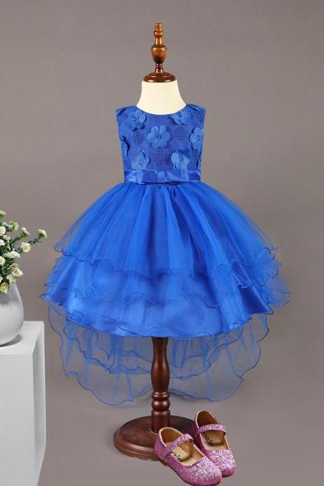 High Low Flower Girl Dress Sleeveless Trailing Wedding Birthday Toddler Party Tutu Gown Children Clothes royal blue