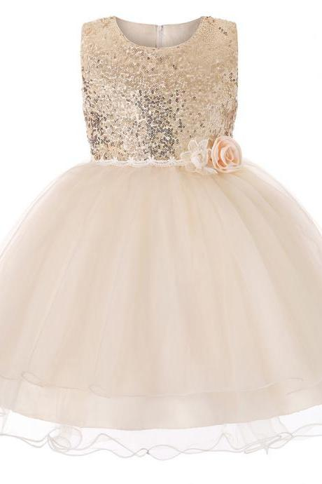 Sequined Flower Girl Dress Sleeveless Teens Wedding Formal Birthday Party Gown Children Kids Clothes champagne