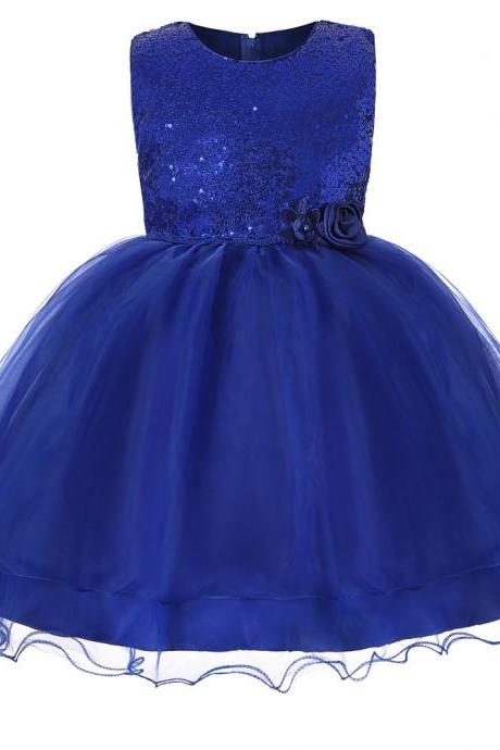 Sequined Flower Girl Dress Sleeveless Teens Wedding Formal Birthday Party Gown Children Kids Clothes royal blue