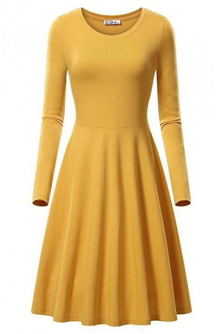 Women Casual Dress Autumn Long Sleeve O Neck Slim Work Office A Line Formal Party Dress yellow