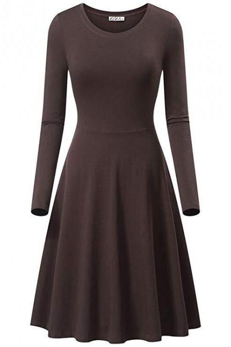 Women Casual Dress Autumn Long Sleeve O Neck Slim Work Office A Line Formal Party Dress coffee