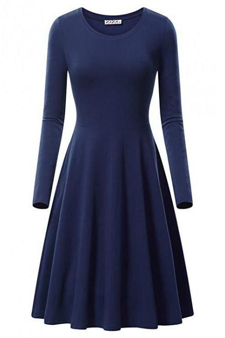 Women Casual Dress Autumn Long Sleeve O Neck Slim Work Office A Line Formal Party Dress navy blue