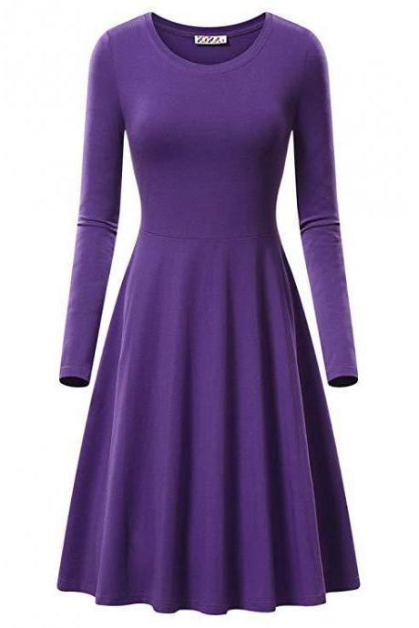 Women Casual Dress Autumn Long Sleeve O Neck Slim Work Office A Line Formal Party Dress purple