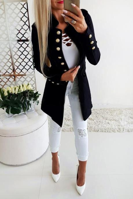 Women Slim Suit Coat Autumn Long Sleeve Single Breasted Button OL Casual Blazer Jacket Outwear black
