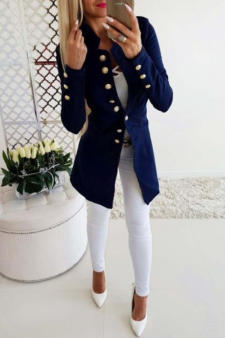 Women Slim Suit Coat Autumn Long Sleeve Single Breasted Button OL Casual Blazer Jacket Outwear dark blue