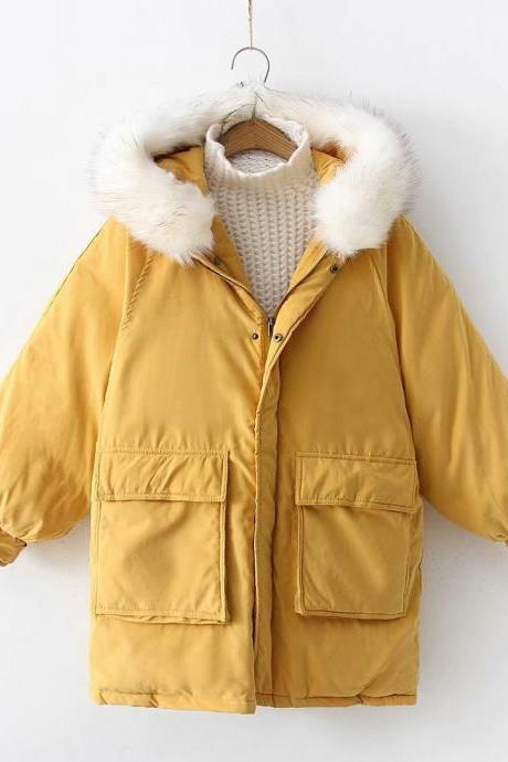 Women Parkas Coat Winter Warm Thick Long Sleeve Pockets Hooded Casual Loose Cotton Down Jacket yellow
