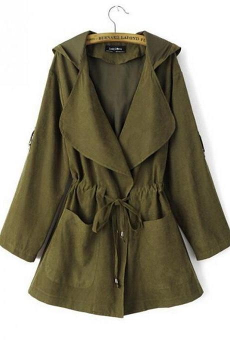 Women Windbreaker Coat Autumn Winter Long Sleeve Loose Streetwear Casual Hooded Jacket army green