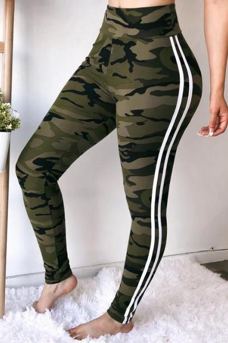 Women Camouflage Printed Leggings Elastic Waist Skinny Casual Fitness Jegging Camo Sweatpants Pencil Pants army green