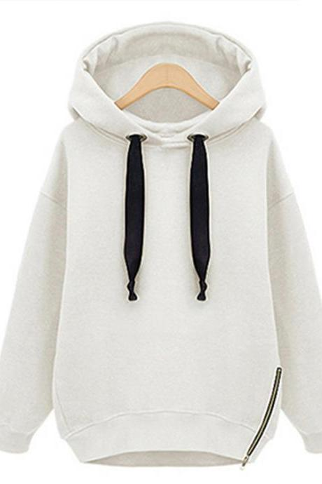 Women Hooded Sweatshirt Autumn Winter Warm Long Sleeve Zipper Casual Loose BF Hoodies off white