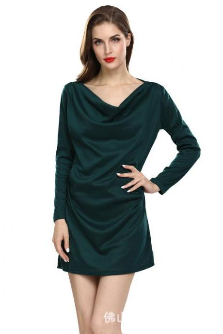 Women Casual Dress Solid Cotton Pocket Loose Long Sleeve Pleated Mini Club Party Dress hunter green