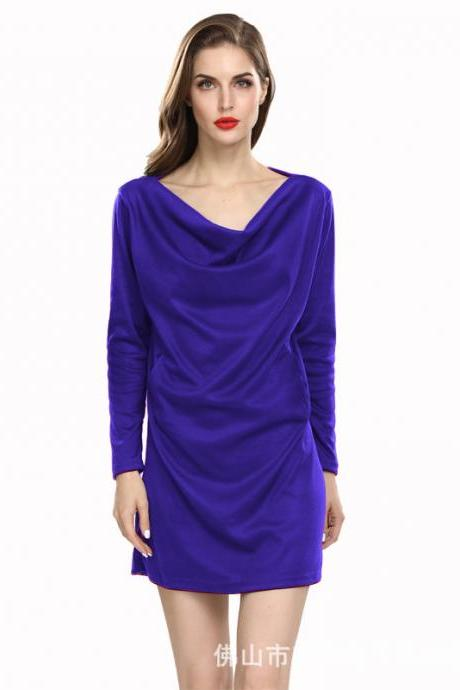 Women Casual Dress Solid Cotton Pocket Loose Long Sleeve Pleated Mini Club Party Dress royal blue