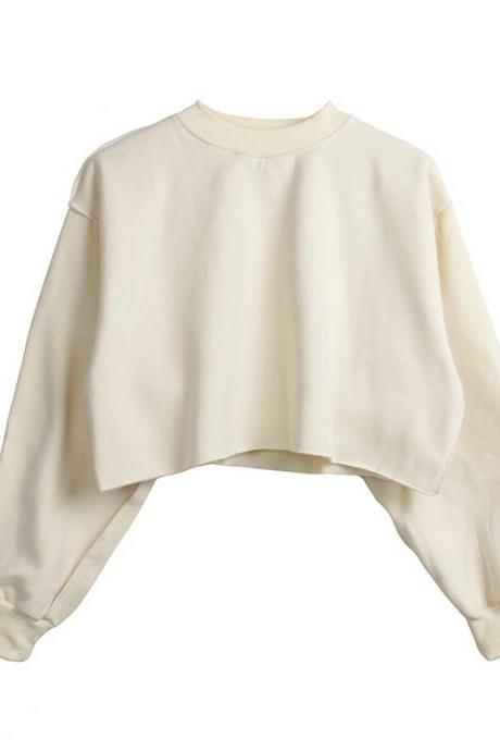 Women Crop Tops Autumn Winter Long Sleeve Pullover Casual Loose Short Fleece Sweatshirt beige