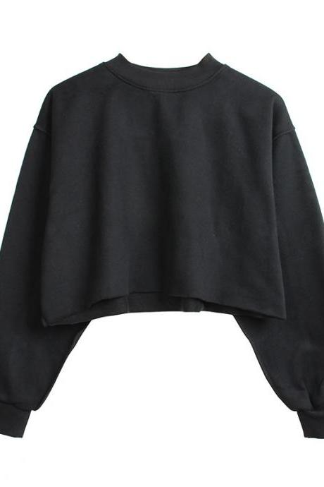 Women Crop Tops Autumn Winter Long Sleeve Pullover Casual Loose Short Fleece Sweatshirt black