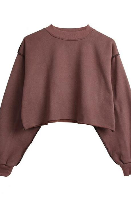 Women Crop Tops Autumn Winter Long Sleeve Pullover Casual Loose Short Fleece Sweatshirt reddish brown