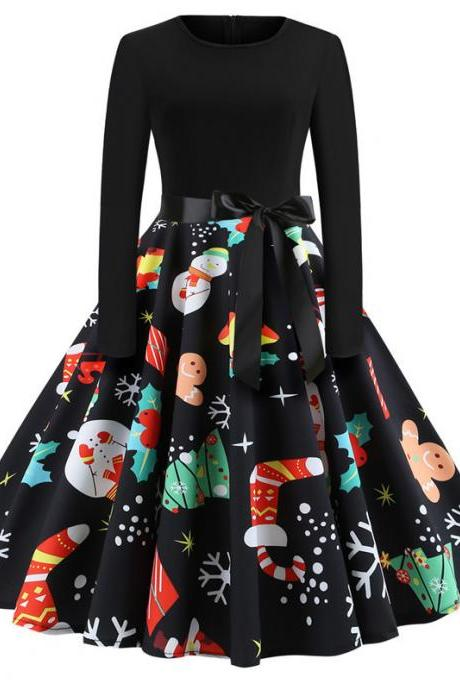 Women Christmas Dress Vintage Casual Long Sleeve Belted A Line Floral Printed Formal Party Dress 3#