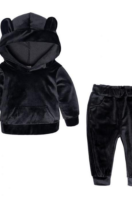 Baby Boys Girls Velvet Tracksuit Autumn Hoodie Long Pants Two Pieces Clothing Sets Children Outfits black