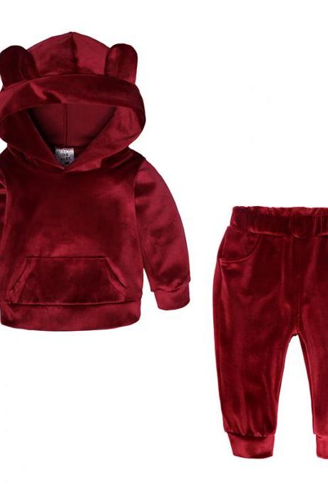 Baby Boys Girls Velvet Tracksuit Autumn Hoodie Long Pants Two Pieces Clothing Sets Children Outfits crimson
