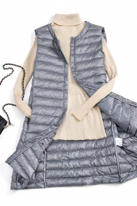 Women Ultra Light Vest Coat Autumn Winter Warm Slim Long Waistcoat Duck Down Sleeveless Jacket gray