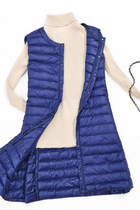 Women Ultra Light Vest Coat Autumn Winter Warm Slim Long Waistcoat Duck Down Sleeveless Jacket royal blue
