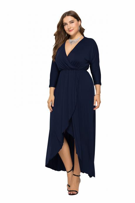 Women Asymmetrical Maxi Dress V-Neck Long Sleeve Plus Size Slim Long Formal Evening Party Dress navy blue