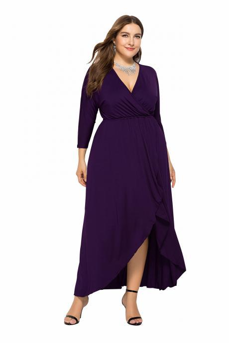 Women Asymmetrical Maxi Dress V-Neck Long Sleeve Plus Size Slim Long Formal Evening Party Dress purple