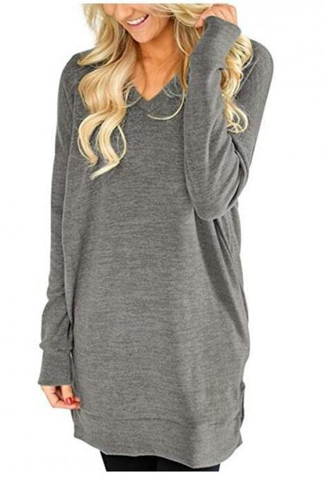 Women Casual Dress Autumn V Neck Long Sleeve Split Loose Pullover Mini T Shirt Dress gray