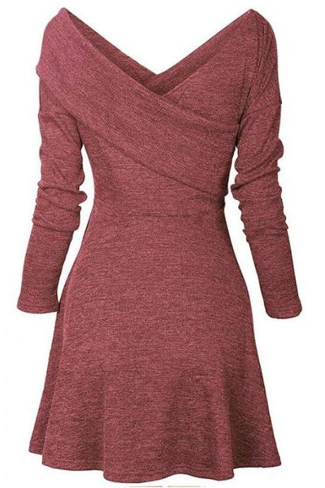 Women Autumn Casual Dress Cross V Neck Long Sleeve Basic Slim Knitted A Line Party Dress wine red