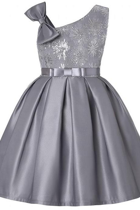 Sequined Flower Girl Dress Sleeveless Bow Formal Perform Party Gown Children Kids Clothes gray