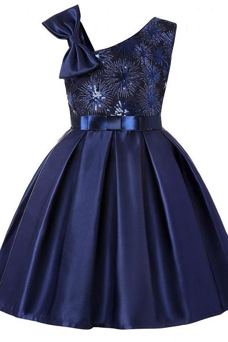 Sequined Flower Girl Dress Sleeveless Bow Formal Perform Party Gown Children Kids Clothes navy blue