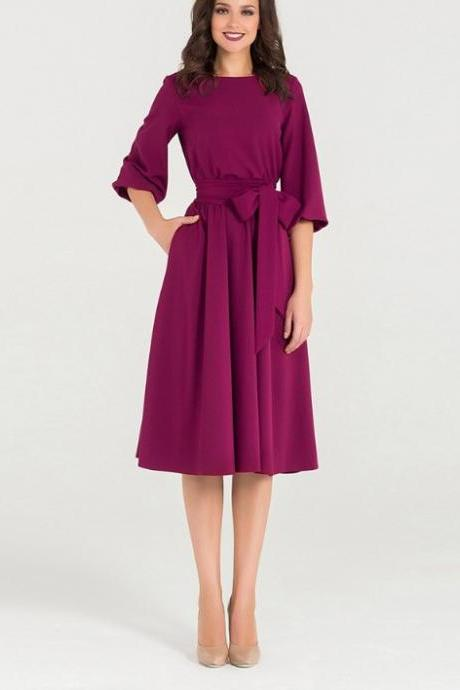 Women Midi Dress Autumn Winter Casual 3/4 Sleeve Bow Belted Pockets Swing Work Office Dress fuchsia
