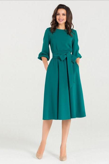 Women Midi Dress Autumn Winter Casual 3/4 Sleeve Bow Belted Pockets Swing Work Office Dress green
