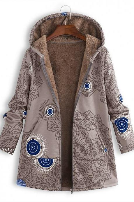 Women Hooded Coat Vintage Floral Printed Winter Warm Plus Size Casual Fleece Jacket coffee