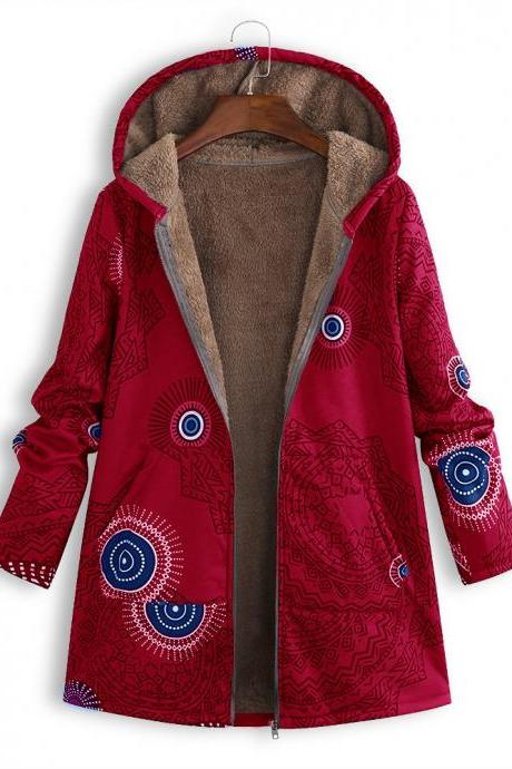 Women Hooded Coat Vintage Floral Printed Winter Warm Plus Size Casual Fleece Jacket red