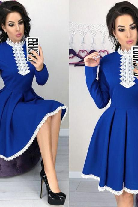 Women Lace Patchwork Dress Autumn Long Sleeve Casual Slim A Line Formal Party Dress blue