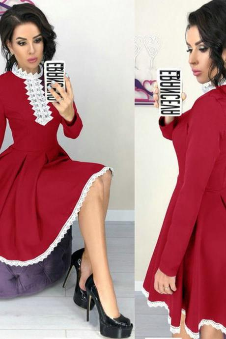 Women Lace Patchwork Dress Autumn Long Sleeve Casual Slim A Line Formal Party Dress red