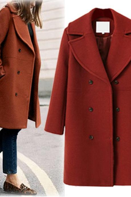 Women Woolen Trench Coat Autumn Winter Turn-down Collar Double Breasted Long Sleeve Casual Loose Long Jakcet Brick red