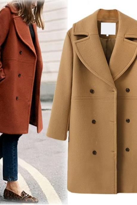 Women Woolen Trench Coat Autumn Winter Turn-down Collar Double Breasted Long Sleeve Casual Loose Long Jakcet khaki