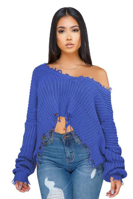 Women Oversize Knitted Sweater Autumn Winter Long Sleeve Ripped V Neck Casual Loose Pullover Crop Tops blue